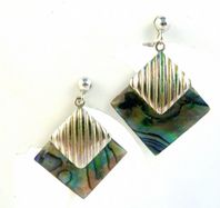 Abalone Shell Diamond Drop Earrings.
